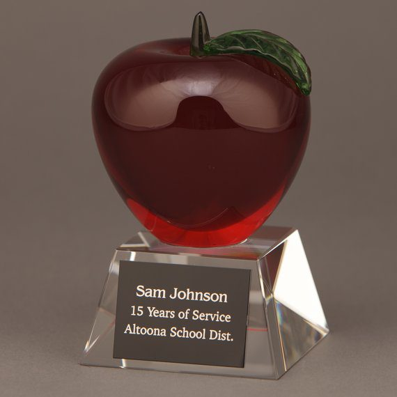 Red Crystal Apple Trophy with Engraving an Excellent Teacher Appreciation Gift Idea
