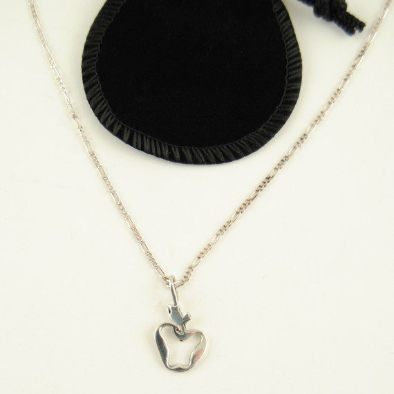 Sterling Silver Apple Pendant - Chain For Teacher Appreciation Gift