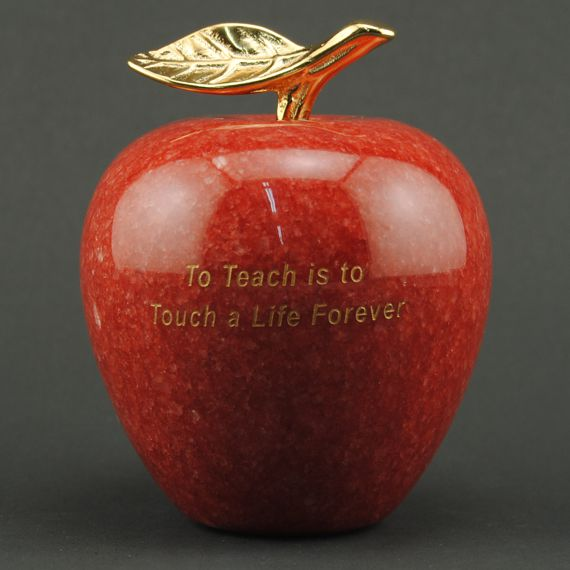 Teacher Appreciation Red Marble Apple - To Teach is to Touch a Life Forever