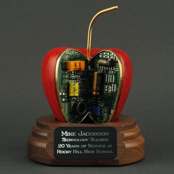 Red Tech Apple - A Unique Gift Idea for Computer Specialists - Personalization