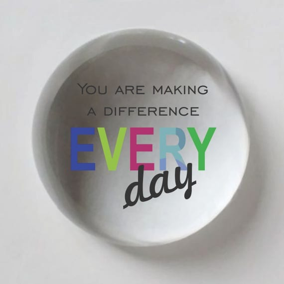 Making a Difference Every Day Domed Crystal Paperweight