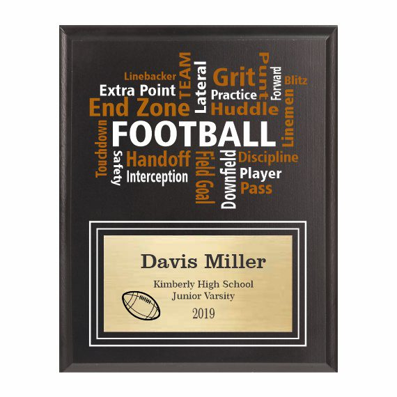 Amazing Competitor series football black plaque