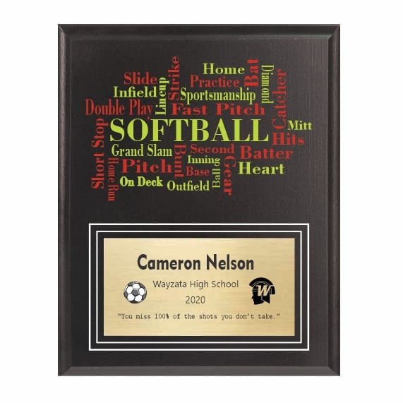 Amazing Competitor Series Softball Black Plaque